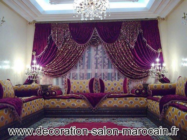 d coration de salon marocain rideaux pour les salons marocains modernes. Black Bedroom Furniture Sets. Home Design Ideas