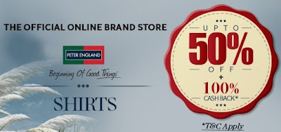 Enjoy upto Flat 50% Discount on Peter England Formal / Casual Shirts (Price Starts Rs.400) + 100% Cash Back