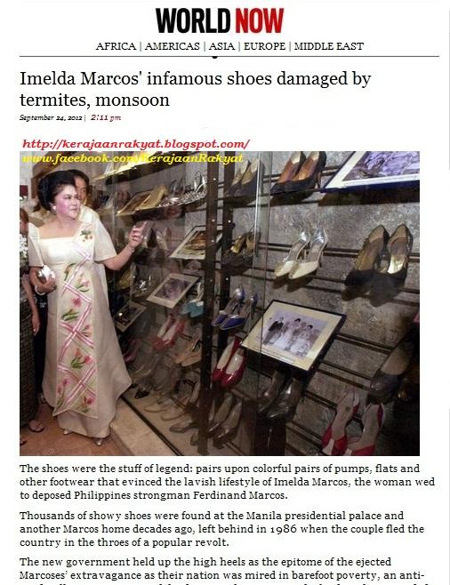 Koleksi kasut, barang lain Marcos rosak dek anai-anai