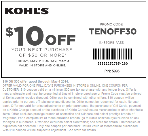 Kohls 30 coupon december 2018