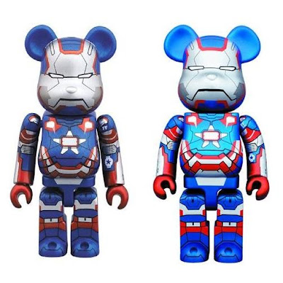 Iron Patriot 100% & 400% Marvel's Iron Man 3 Be@rbrick Vinyl Figures by Medicom