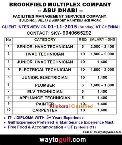 brookfield co jobs for abu dhabi gulf jobs for malayalees. Black Bedroom Furniture Sets. Home Design Ideas