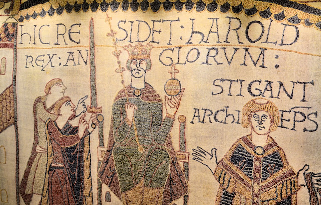 Close-up view of the one of the Bayeux Tapestry panels on Deck 5.