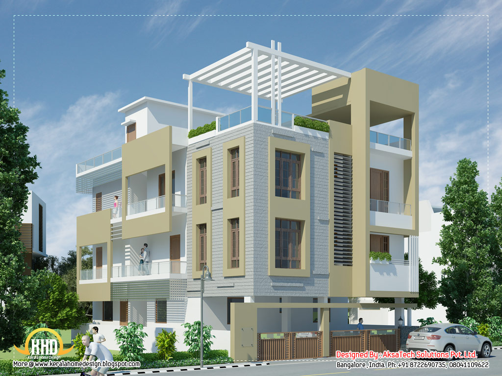 Modern contemporary home elevations indian house plans for Contemporary indian house elevations
