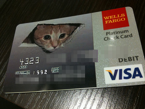 ceiling cat customize debit card from wells fargo - Custom Visa Debit Card