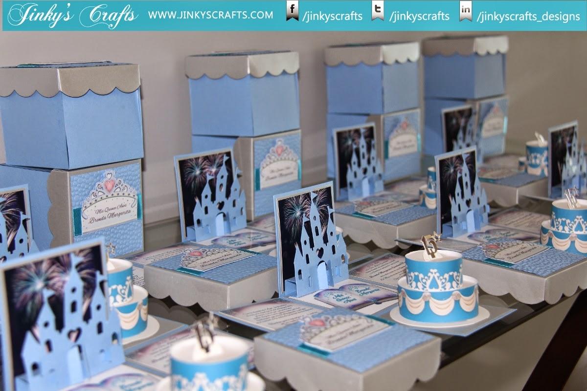 Jinkys crafts designs quinceaera disney fairytale exploding box invitations w 3d castle 2 tier cake solutioingenieria Image collections
