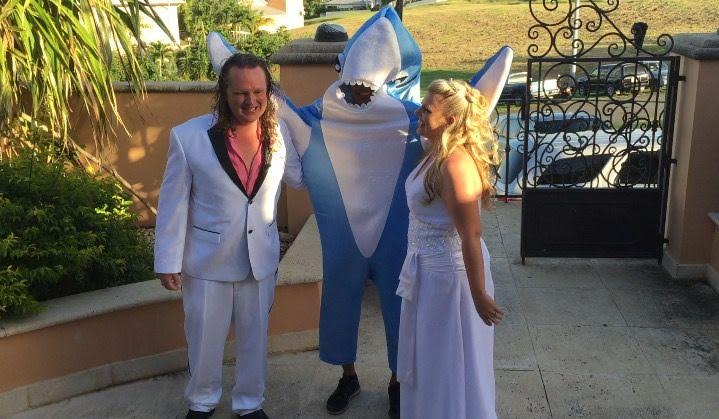 Groom Gets His Shark. Bride is Happy!