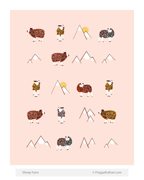Sheep and snowy mountain art by Pragya Kothari 