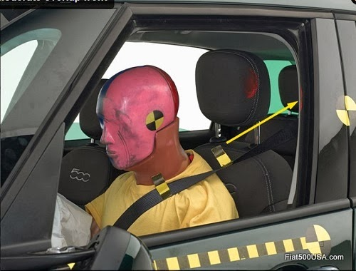 Fiat 500L driver side crash test dummy