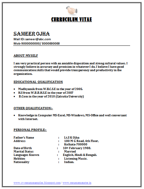 Call centre job resume format