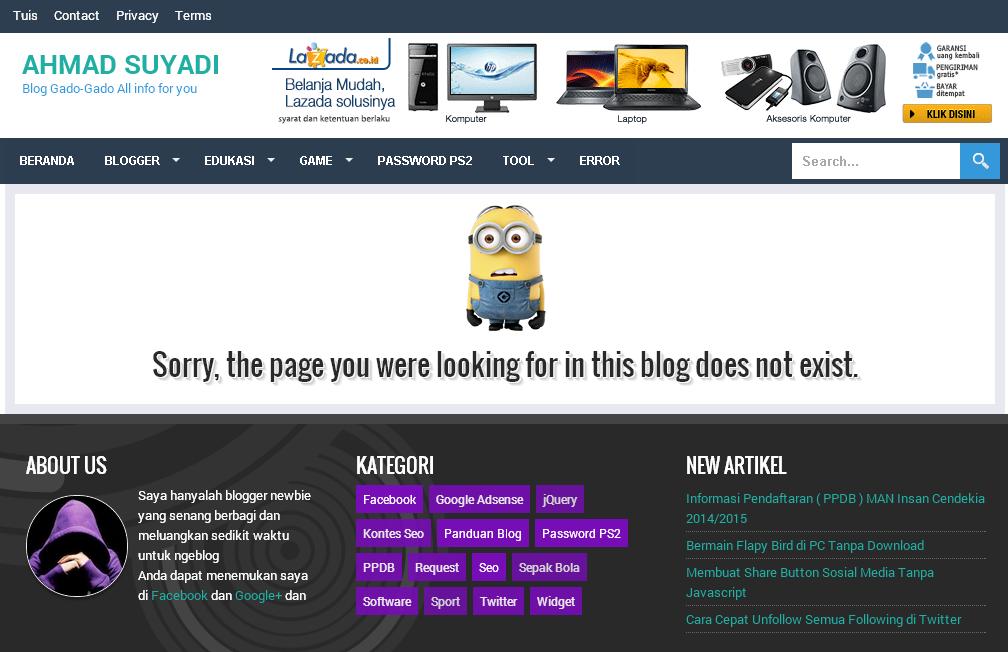 Cara Membuat Halaman Error 404 Keren di Blog