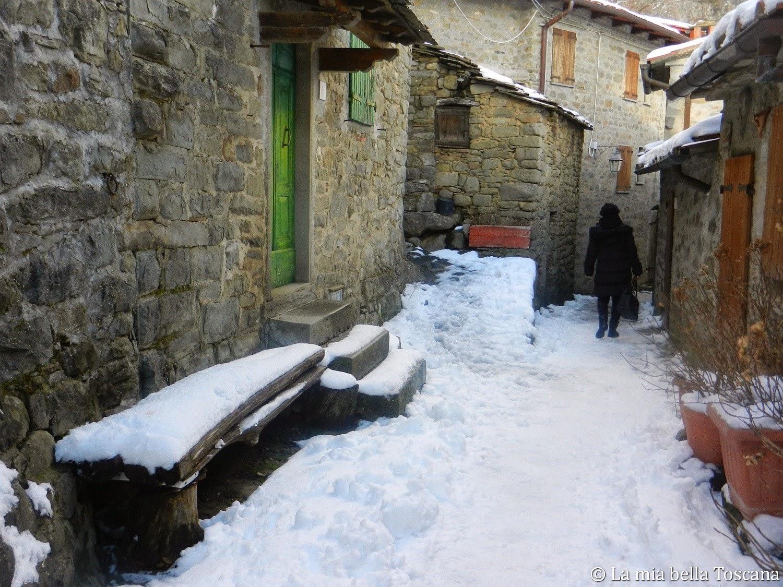 Paesi con la neve Pratomagno, Valdarno, Toscana