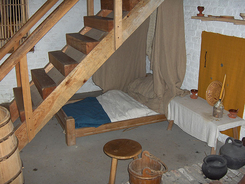 Reconstruction Of Beds C1465 At The Walraversijde Medieval Village In  Belgium