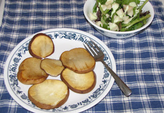 fried puffball served with a salad