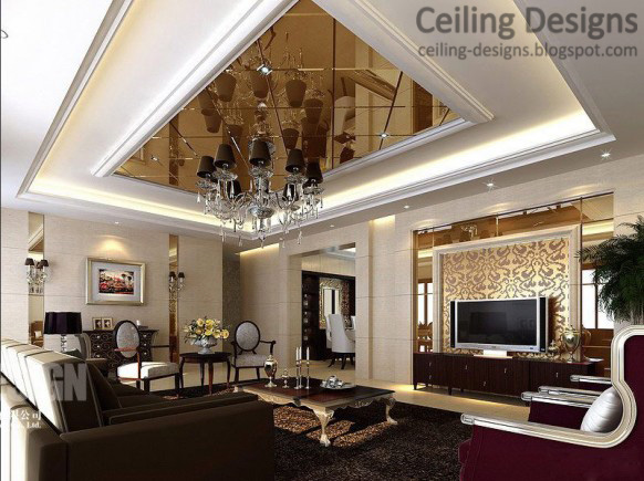 5 luxurious tray ceiling designs with large chandelier - Living room ceiling tiles ...