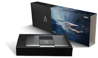 Aspire R7 Limited Edition notebook with the stainless steel Star Trek logo emblazoned on it.