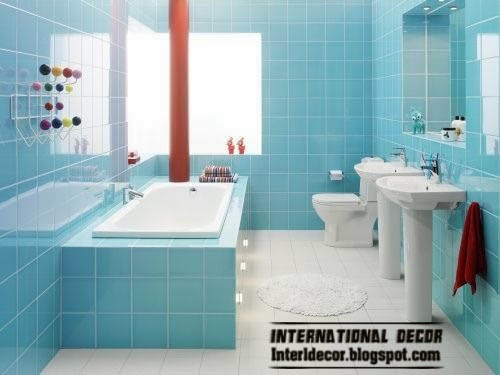 small bathroom decorating ideas and designs, aqua wall tiles