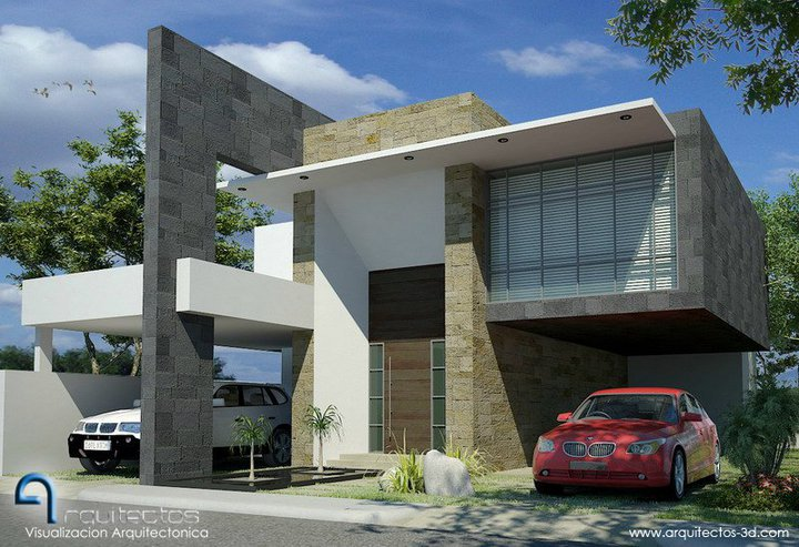 Fachadas contempor neas casa contempor nea con cantera a for Fachadas de casas minimalistas con balcon