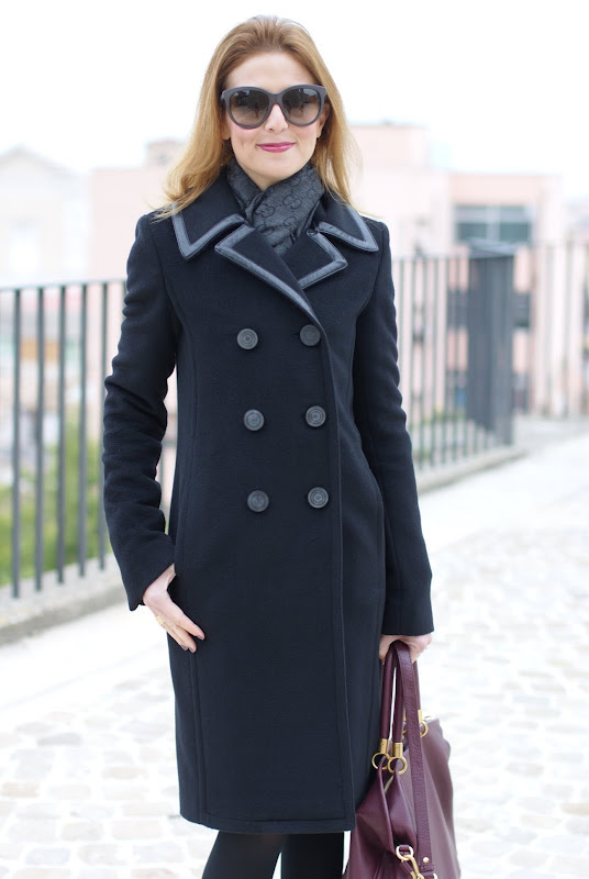 Balenciaga coat, Gucci scarf