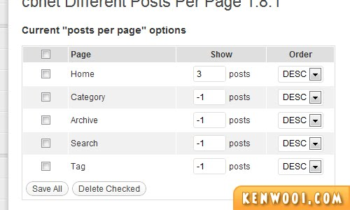 wordpress plugin different posts per page options