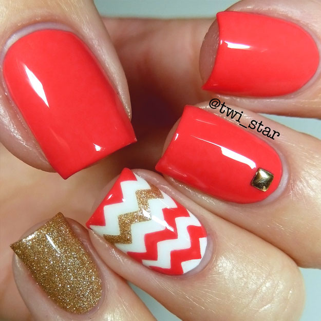 Twi star nail art blog bright coral chevron vinyl nail art to take a mani vacation and use a super bright fun summery color opi live love carnaval add some gold and chevron vinyls and you have insta summer prinsesfo Gallery