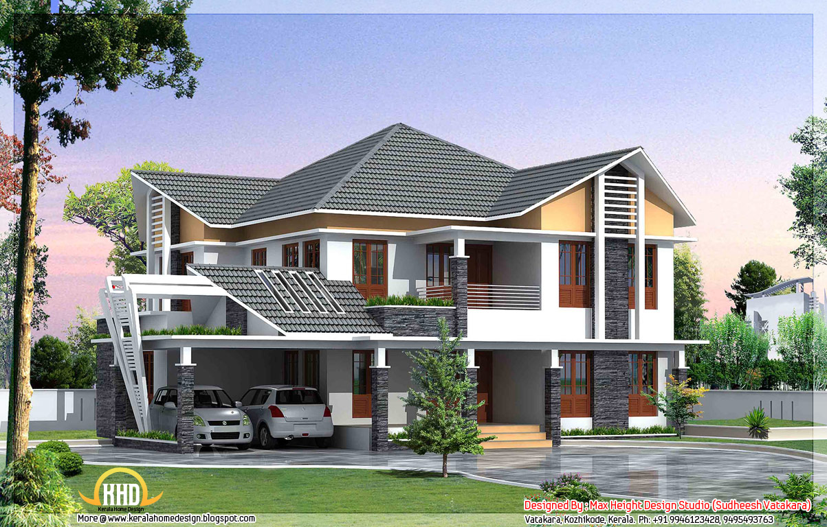 7 beautiful kerala style house elevations indian house plans for Home design beautiful