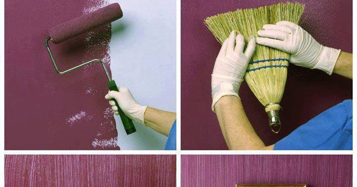 Pintar con efecto escoba decorar paredes for Pintura texturada para exterior