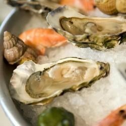 huîtres sur un plateau de fruits de mer