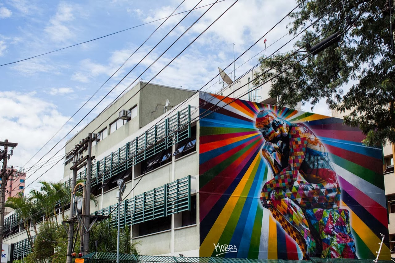 """The Thinker"" a new Street Art piece by Eduardo Kobra on the streets of Sao Paulo, Brazil. 1"