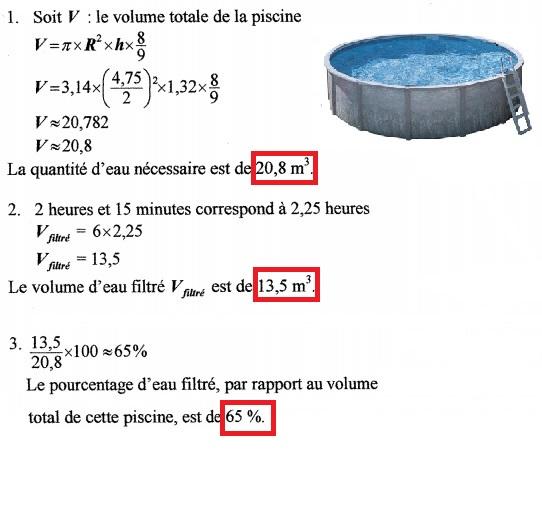 Qcm concours gratuits exercice de math matique calculer - Calculer le volume d une piscine ...