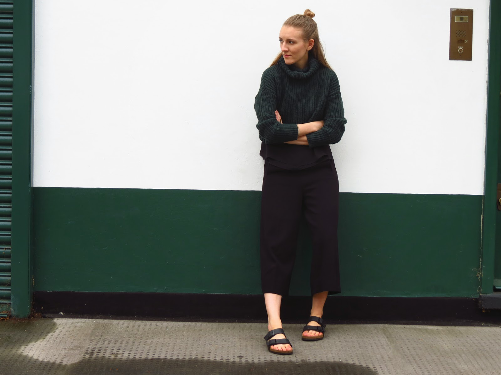 knitted crop top and culottes