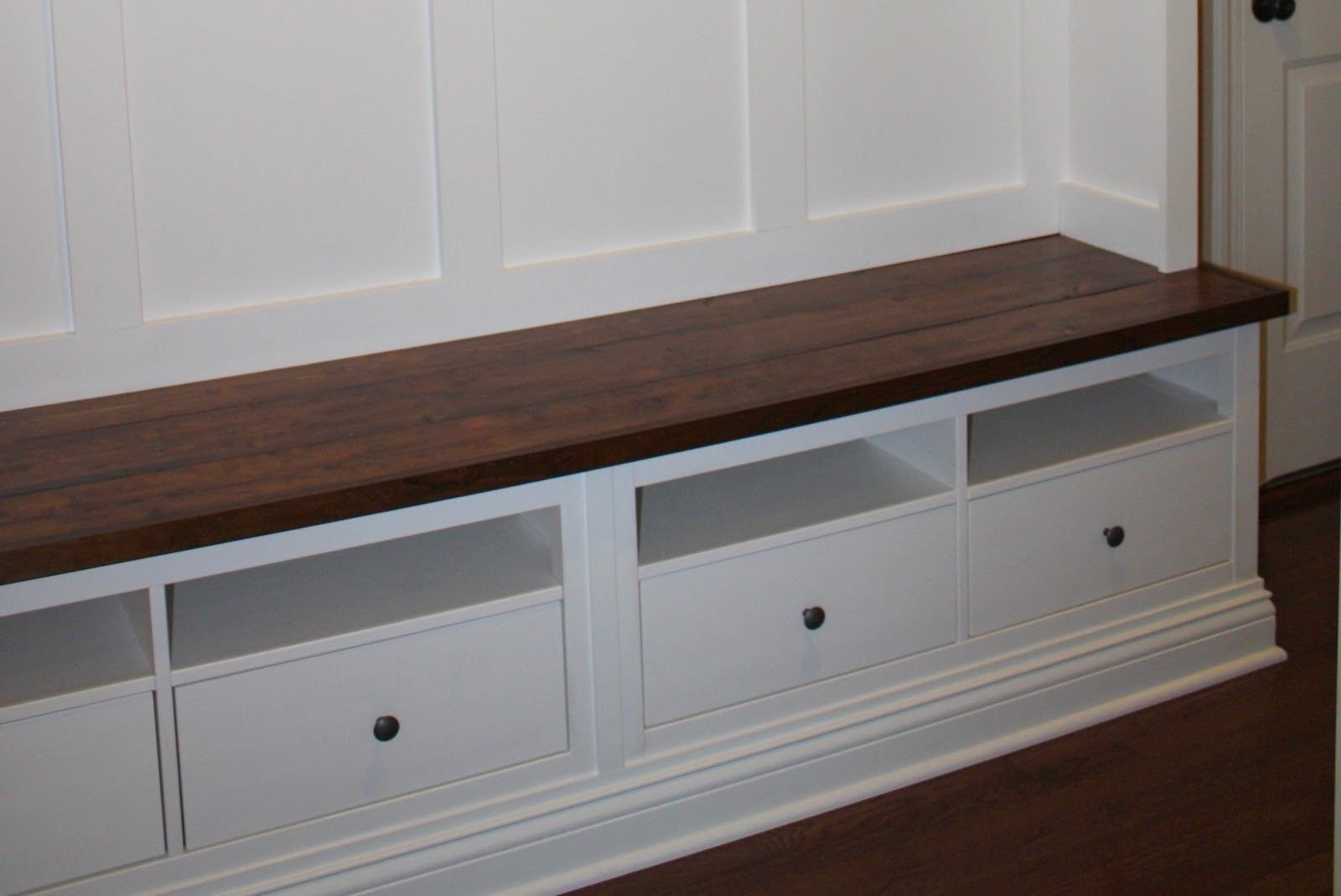 Making mudroom storage from an ikea hack Entryway bench ikea
