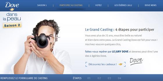 Concours Casting Dove, égéries 2012