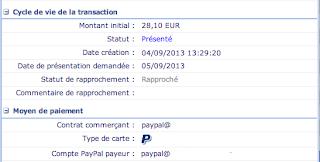 Détail d'un paiement Paypal dans Payzen