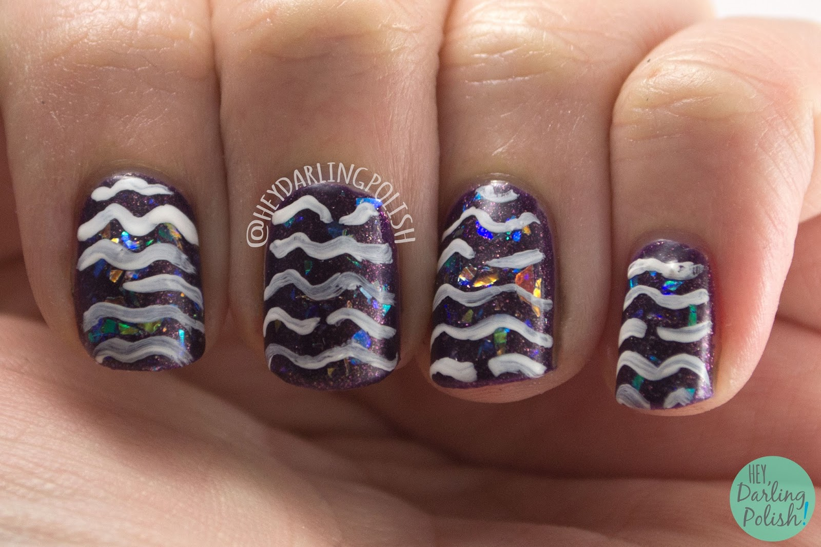 nails, nail art, nail polish, flakies, pattern, purple, hey darling polish, 2015 cnt 31 day challenge