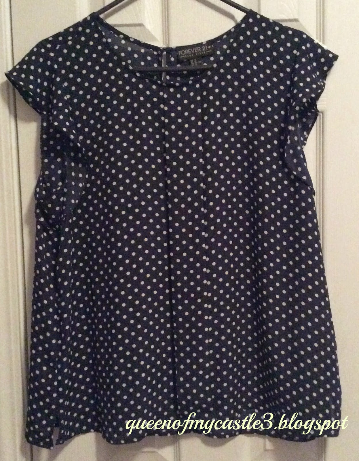 Blue Polka Dot Top From Forever 21