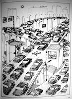 desenho de Quino ilustra como os carros ocupam a cidade
