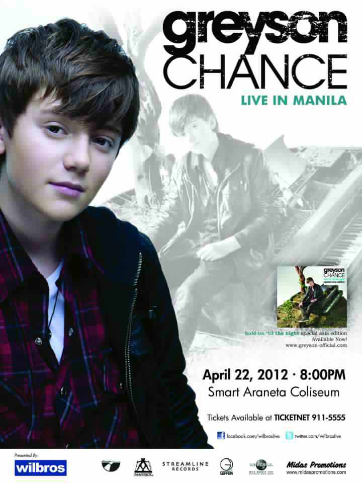 GREYSON CHANCE LIVE IN MANILA 2012 – TICKET PRICES