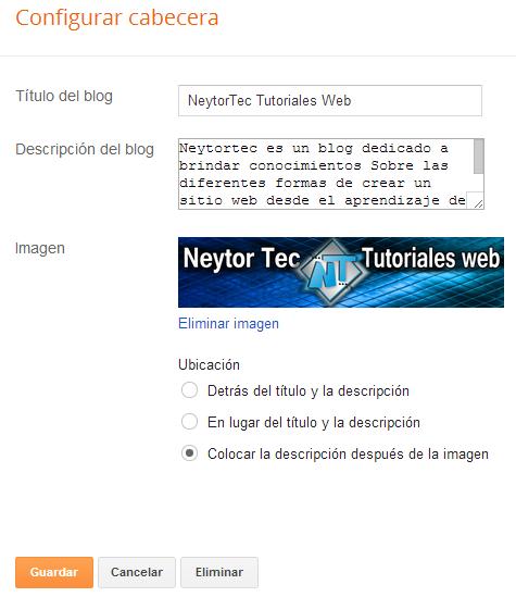 configuración de la cabecera de blogger