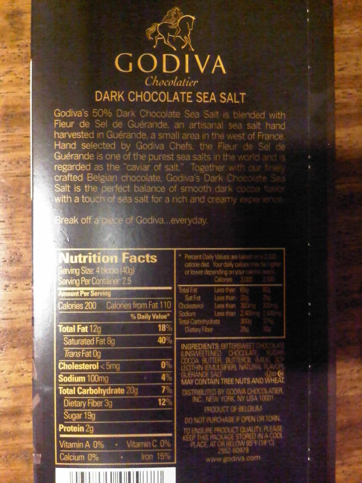 Godiva Chocolate Nutrition