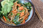 Asian Noodles & Carrot Ribbons with Pea Shoots & Avocado