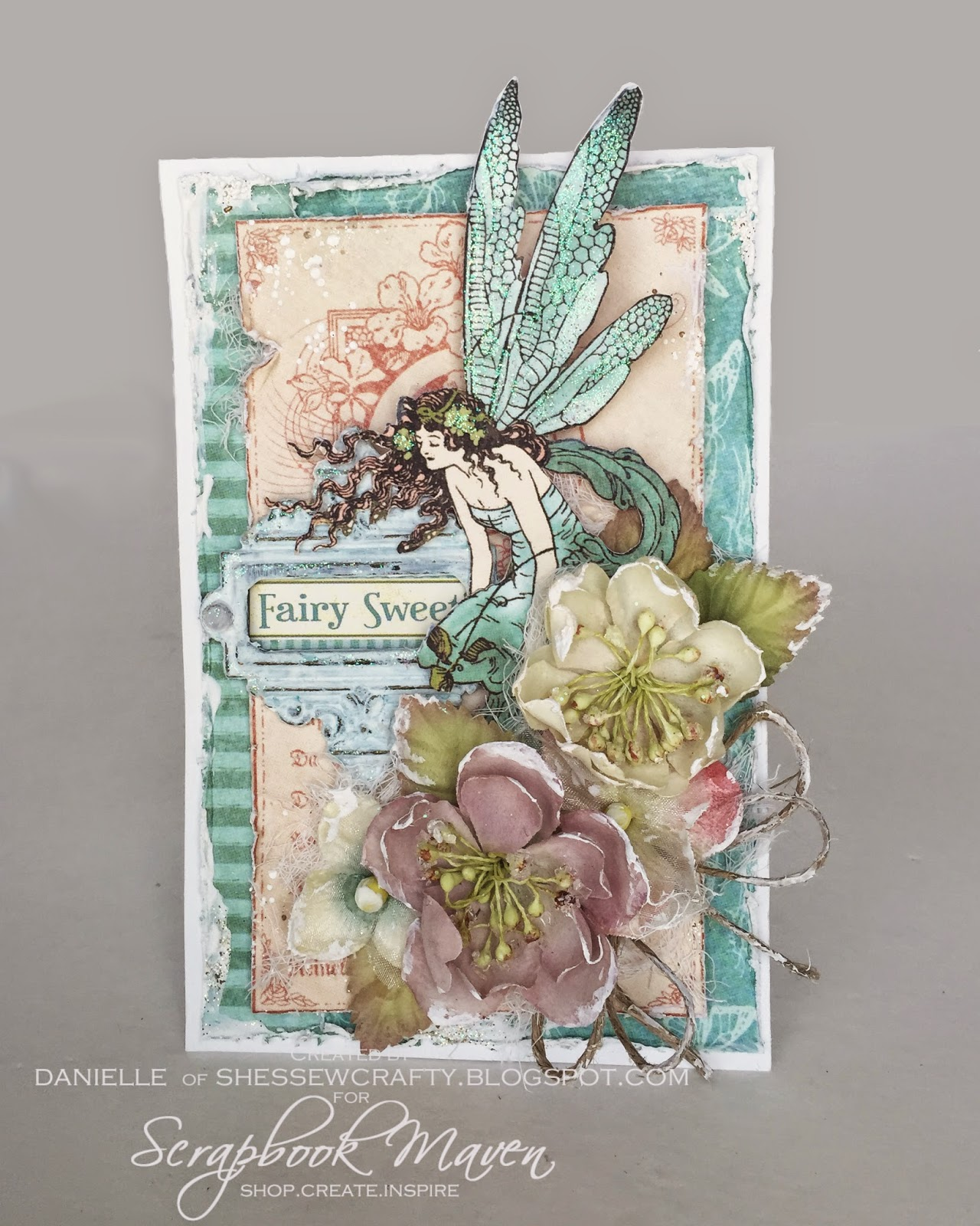 shabby chic fairy card for ScrapbookMaven.com using Graphic 45 Once Upon a Springtime