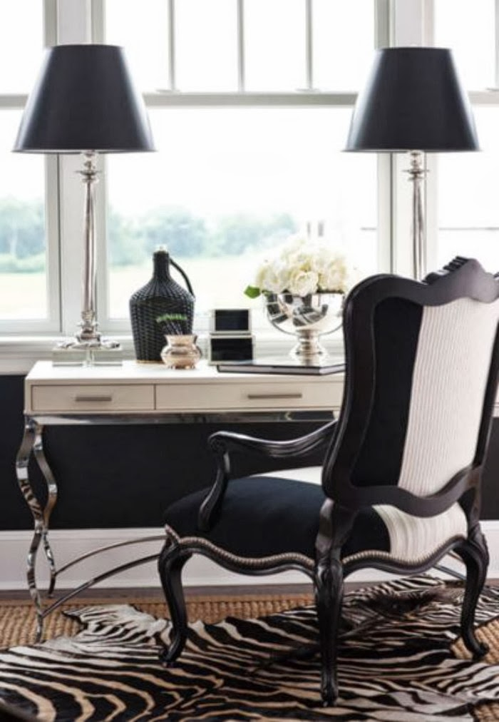 5 black and white home offices t a n y e s h a for Elegant home decor