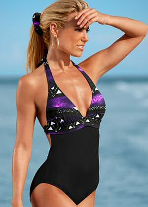 Venus halter once piece bathing suits with solid black lower body and print bodice with low neckline