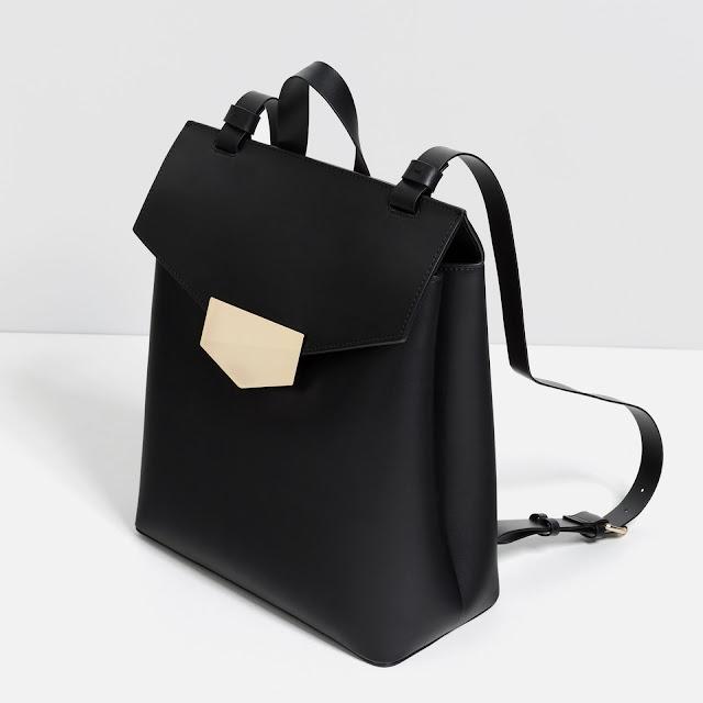 zara black rucksack, black backpack metal clasp,