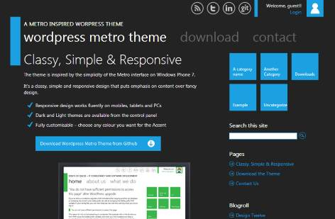 Windows 8 metro style Wordpress theme