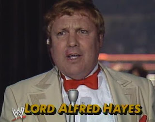 WWF (WWE) WRESTLEMANIA 1: Lord Alfred Hayes was perpetually perplexed throughout the show