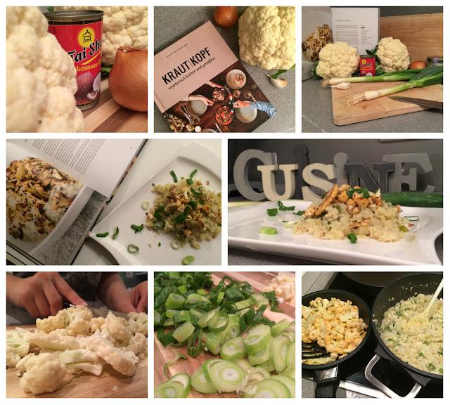 Collage - gemeinsam kochen - Blumenkohlrisotto