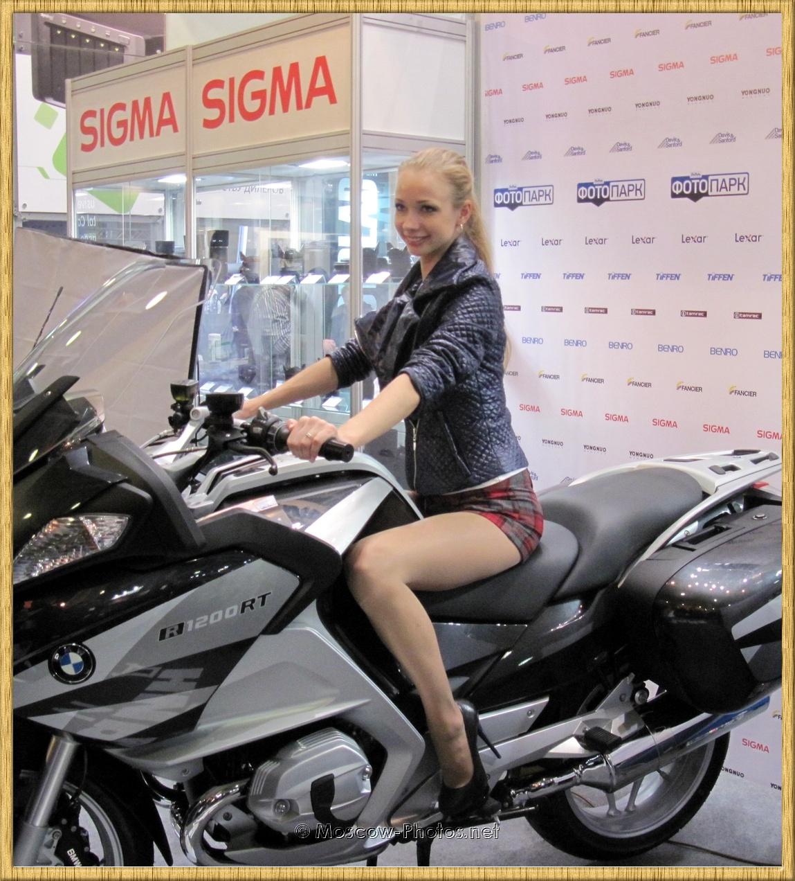 Russian Model Posing On Motor Bike