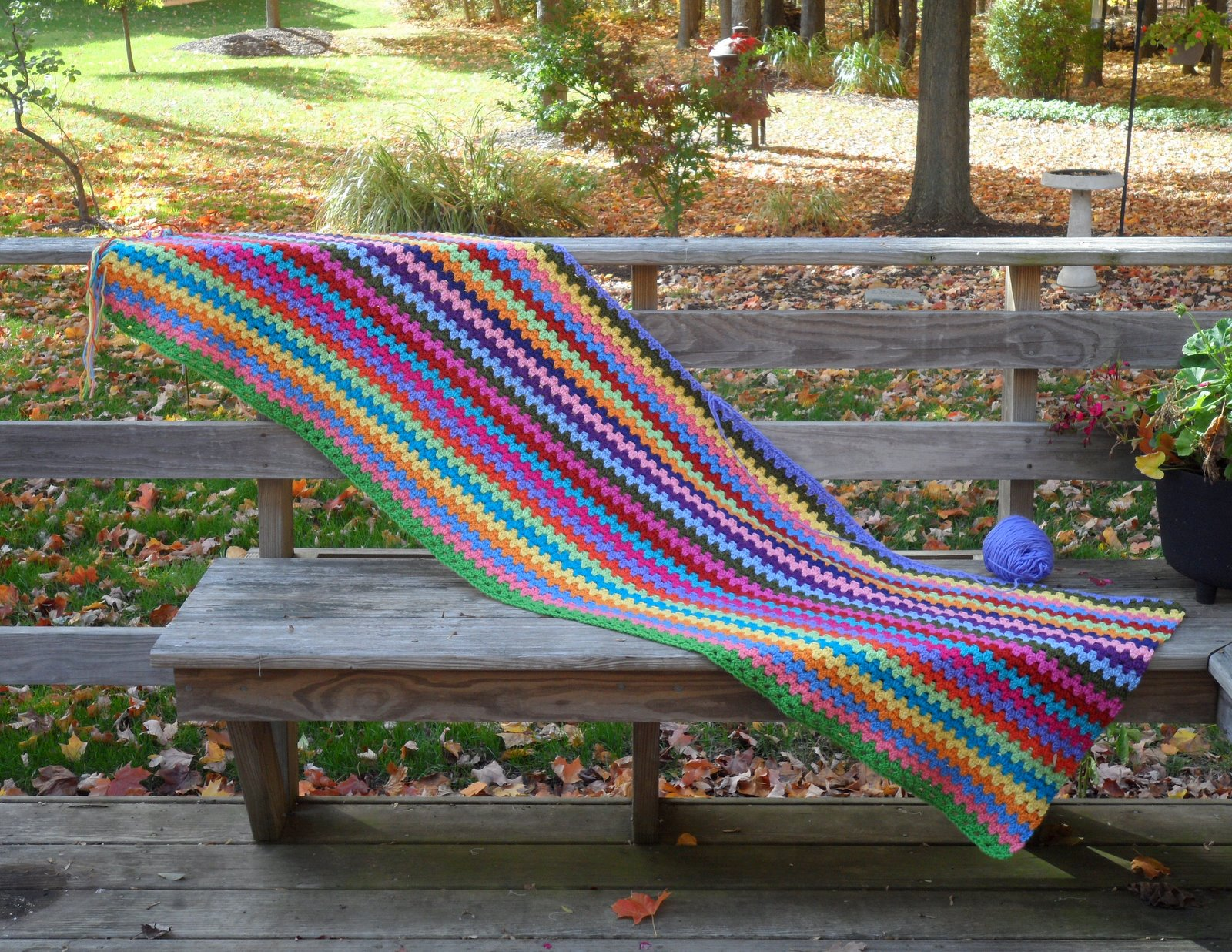 Easy Crochet Striped Afghan Patterns : Easy Crochet Pattern: Crocheted Granny Stripe Afghan